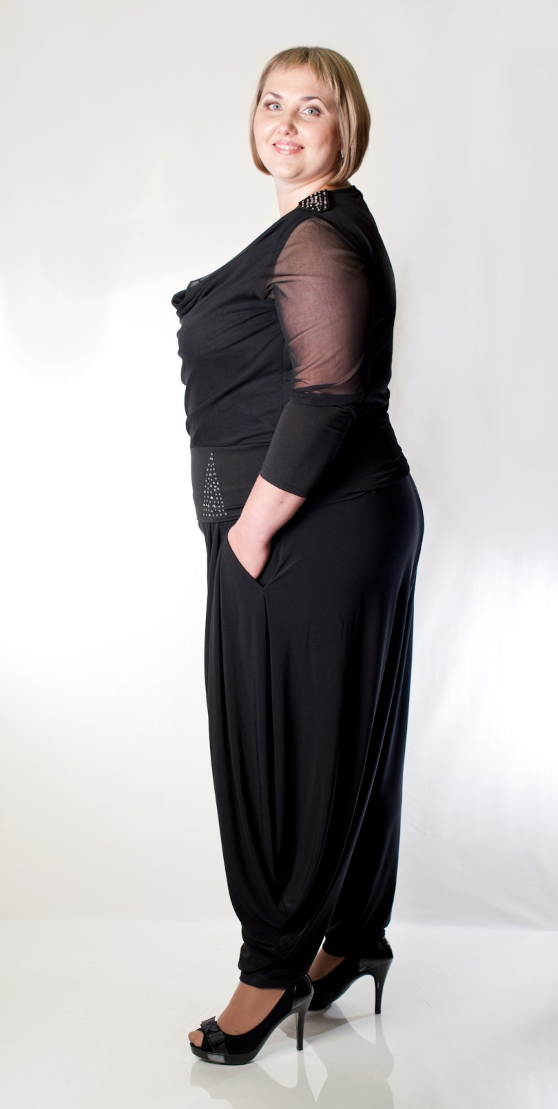 Женские брюки на поясе-резинке большого размера